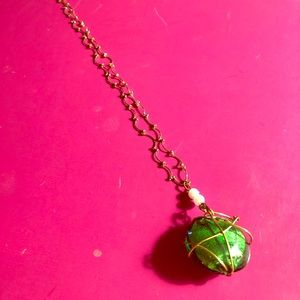 Jewelry - NWOT-Necklace Emerald Green Caged Pendant GoldTone